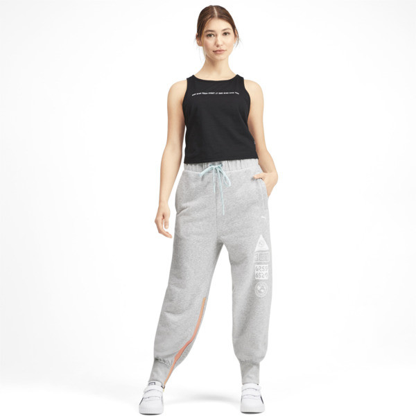 PUMA x SELENA GOMEZ Women's Sweatpants, Light Gray Heather, large