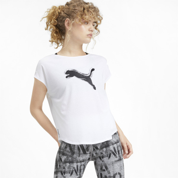 Studio Mesh Cat Damen Training T-Shirt, Puma White, large