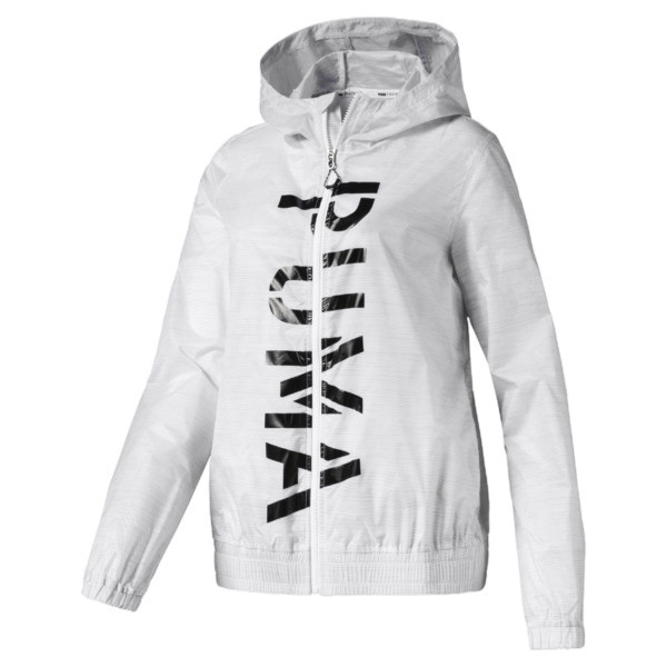 Chaqueta tejida con estampa Be Bold para mujer, Puma White, grande