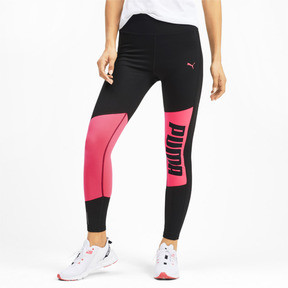 Thumbnail 1 of Logo 7/8 Graphic Women's Training Leggings, Puma Black-Pink Alert, medium