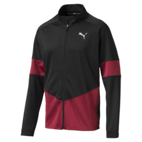 Thumbnail 1 of PUMA Blaster Men's Jacket, Puma Black-Rhubarb, medium