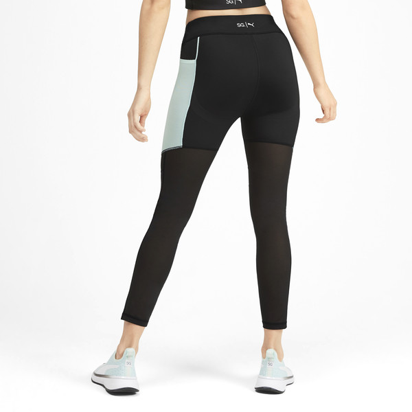 PUMA x SELENA GOMEZ Women's Leggings, Puma Black-Fair Aqua, large