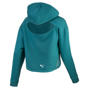 Thumbnail 2 of Cropped Women's Hoodie, Harbor Blue, medium