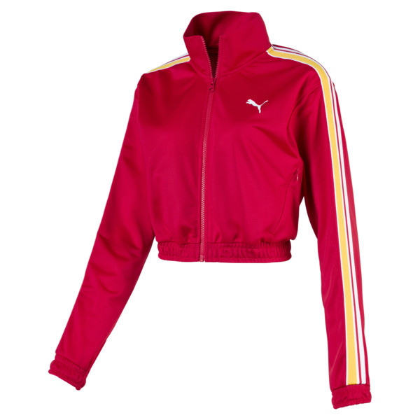 Poly Zip-Up Women's Track Top, Lipstick Red, large