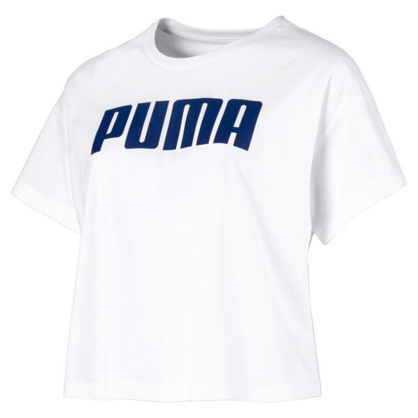 Cropped Logo Women's Tee, Puma White, large