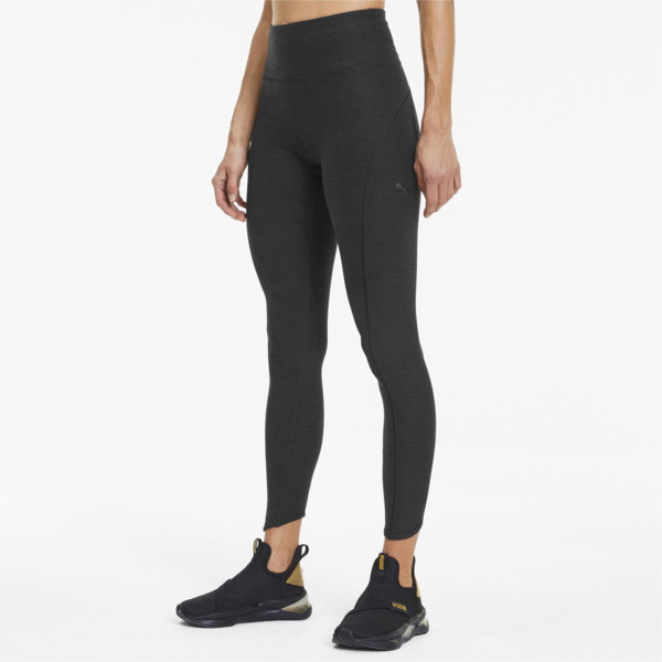 puma studio luxe eclipse women's 7/8 leggings in black heather, size l