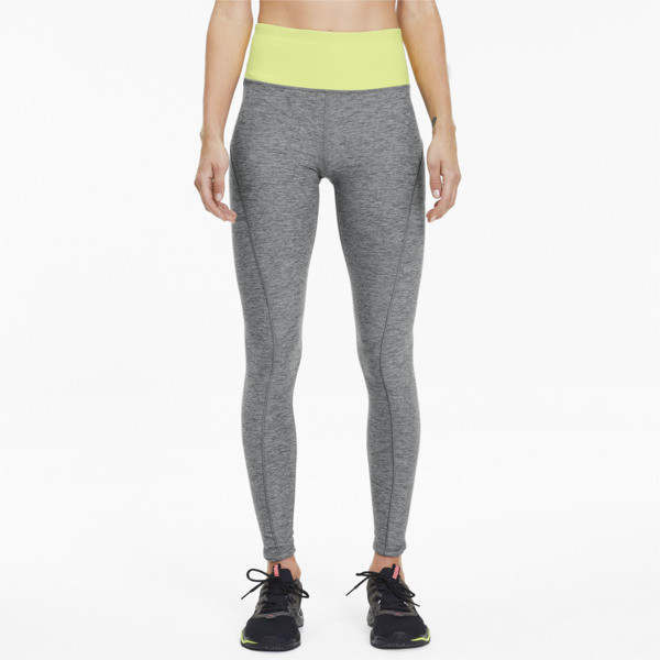 puma studio luxe eclipse women's 7/8 leggings in medium grey heather/sunny lime heather, size xs