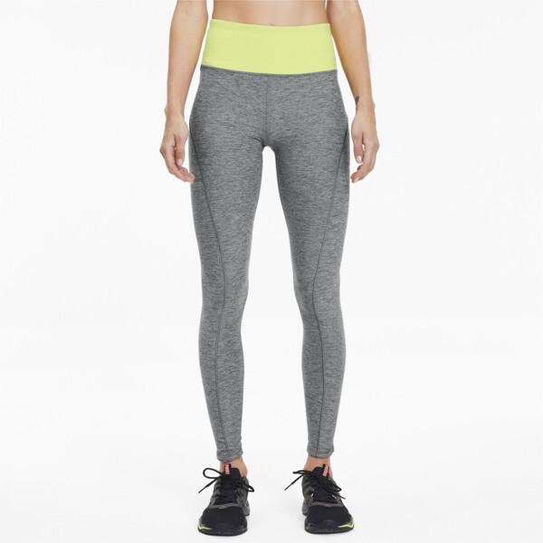 puma studio luxe eclipse women's 7/8 leggings in medium grey heather/sunny lime heather, size s