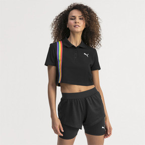 Thumbnail 1 of Performance Cropped Piqué Damen Polo, Puma Black, medium