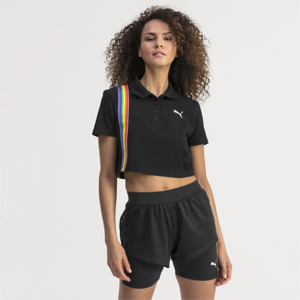 Performance Cropped Piqué Damen Polo, Puma Black, large