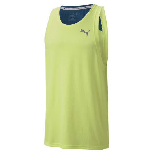 Add this to your running rotation. A favorite among runners, this lightweight and breathable tank features moisture-wicking dryCELL tech to keep you dry and comfortable and reflective elements so you can push your run to the next level. | PUMA Run Favorite Men\\'s Tank Top in Fizzy Yellow/Digi/Blue, Size XXL