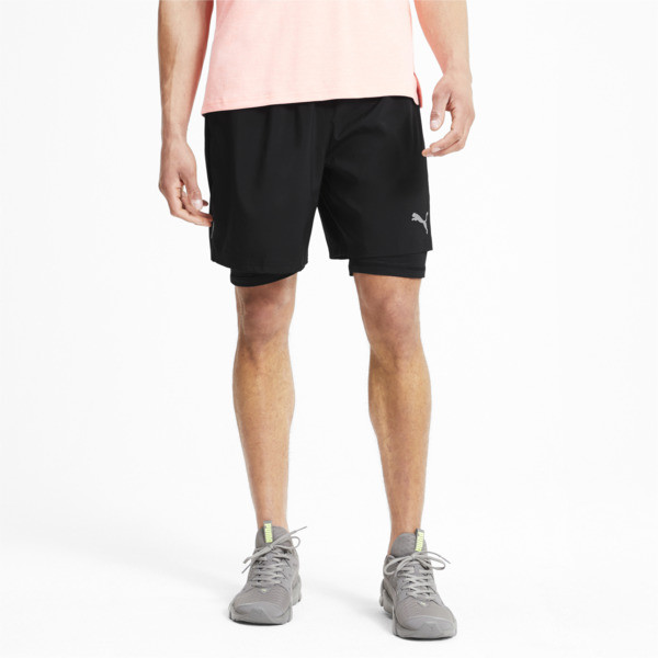 Built with running in mind, these Run Favorite 2-in-1 Shorts feature an inner compression tight and outer woven layer for maximum comfort and performance. PUMA\\'s dryCELL fabric keeps you dry and comfortable while a reflective PUMA Cat Logo boosts visibility throughout your run. | PUMA Run Favorite Men\\'s 2-in-1 Shorts in Black, Size XXL