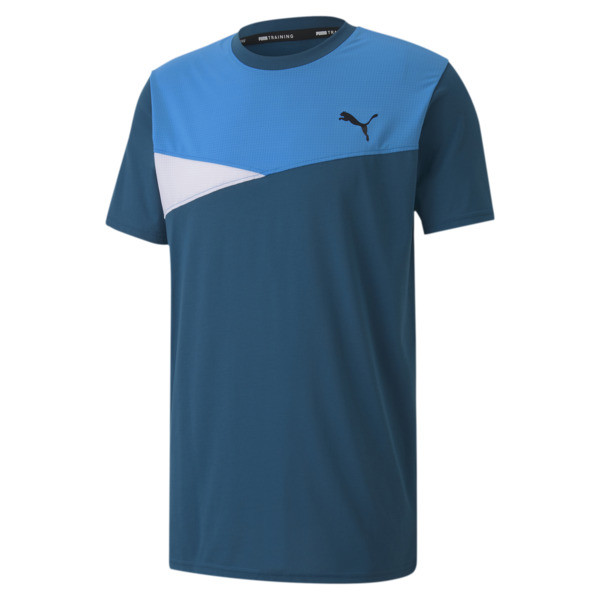 Take your training style from basic to bold in our Color Block Training Tee. Built with PUMA\\'s high performance dryCELL moisture-wicking fabric and cool mesh inserts for added breathability, this tee is sure to stand out from the rest. | PUMA Train Men\\'s Colorblock T-Shirt in Digi/Blue, Size S