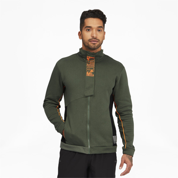 puma train men's full zip knitted jacket in thyme green, size xl