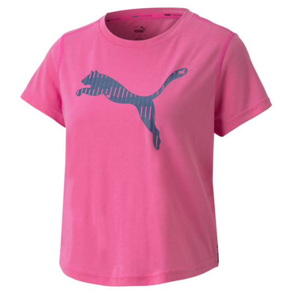 All business in the front. Total party in the back. This training top features a cool crossed back design with a dropped front hem for breathable comfort and more room to move. dryCELL moisture-wicking fabric and flatlock stitching create a comfortable, seamless feel. Bold PUMA branding at the front and back make this a standout wherever you train. | PUMA Train Women\\'s Logo T-Shirt in Luminous Pink, Size S