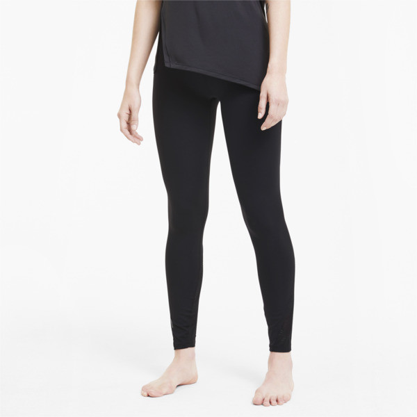 puma studio lace women's high waist 7/8 leggings in black, size m