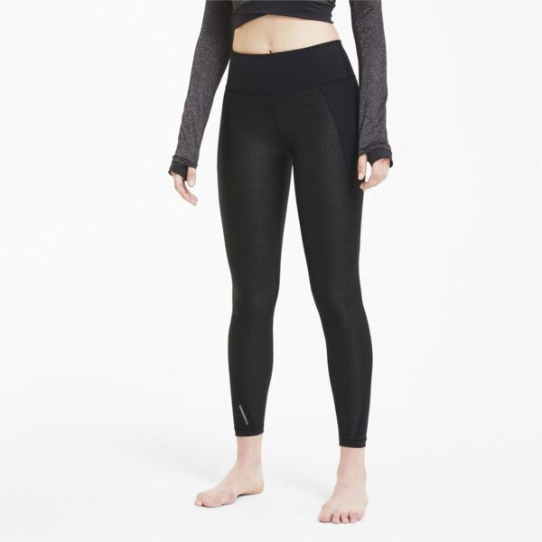 puma studio metallic women's 7/8 leggings in black, size s