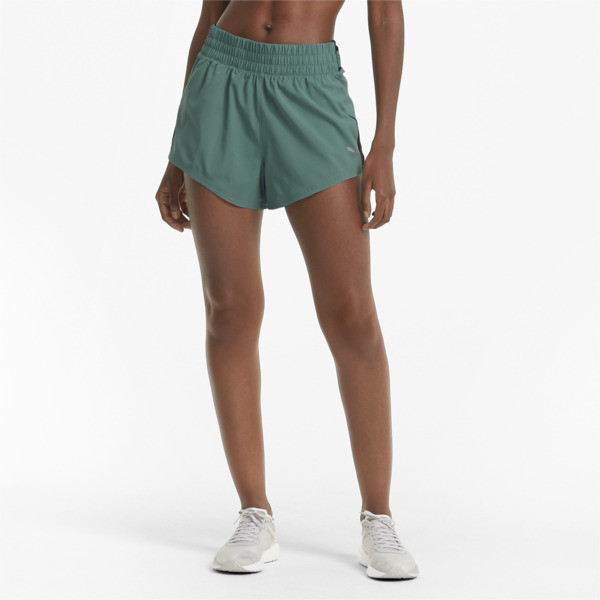 puma cooladapt women's woven running shorts in blue spruce, size l