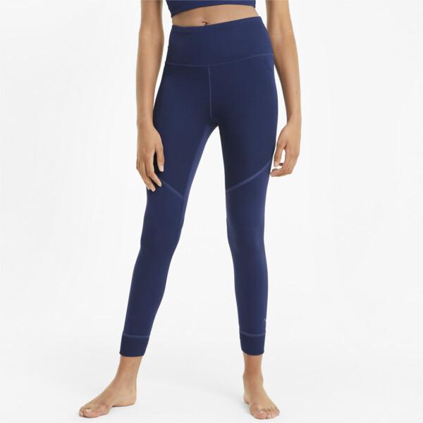 puma studio women's ribbed high waist 7/8 leggings in elektro blue, size xs