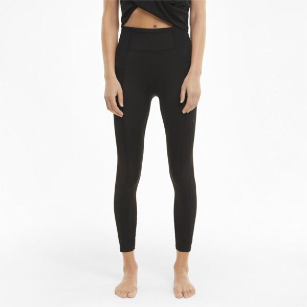 puma studio women's ribbed high waist 7/8 leggings in black, size xs