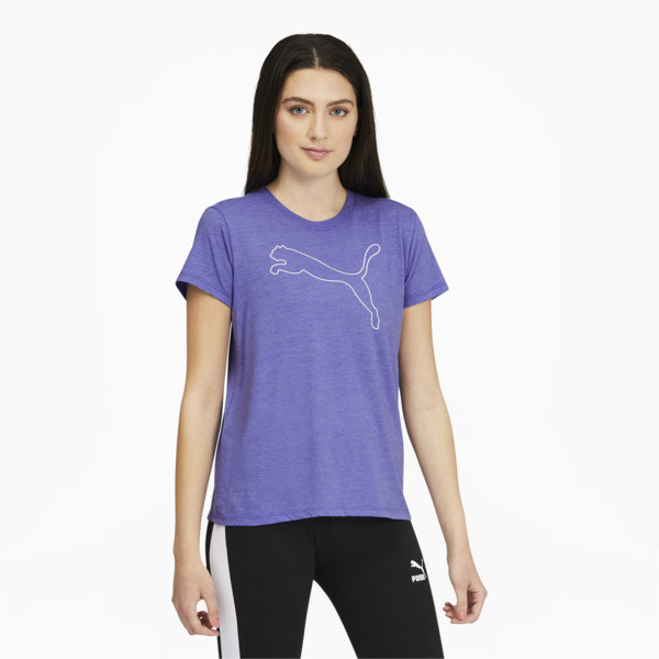Puma Rtg Womens' Heather Logo T-Shirt In Hazy Blue Heather, Size Xs