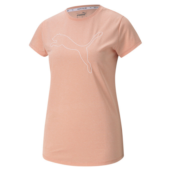 Puma Rtg Womens' Heather Logo T-Shirt In Apricot Blush Heather, Size Xs
