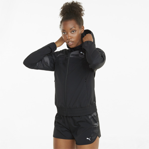 Puma Graphic Hooded Women's Running Jacket In Black, Size Xs