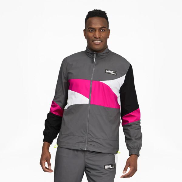 puma formstrip men's woven jacket in grey, size xxl