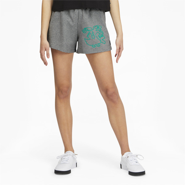 Puma X Mr. Doodle Women's Shorts In Medium Grey Heather, Size Xs