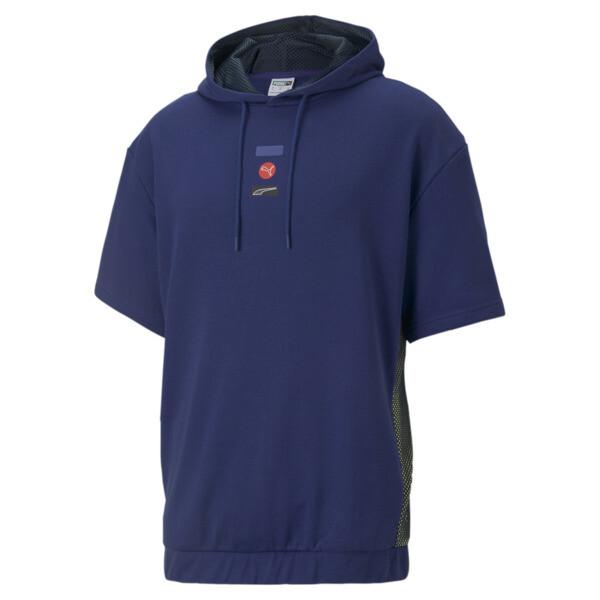 Puma Decor8 Men's Short Sleeve Hoodie In Elektro Blue, Size S