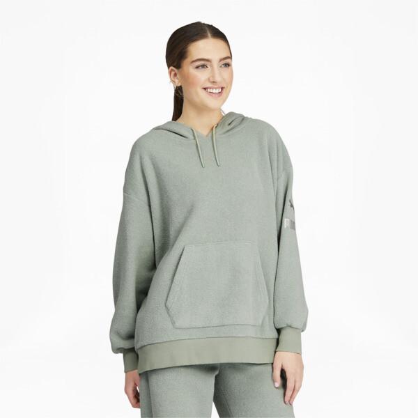 puma winter classics women's hoodie in aqua grey, size xs