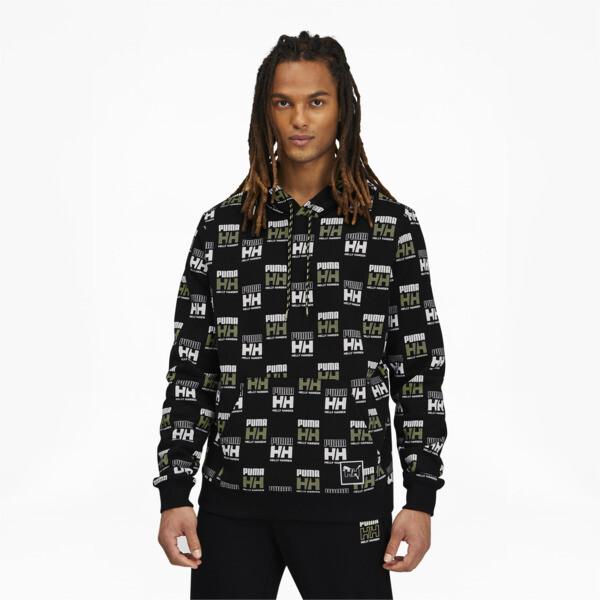puma x helly hansen men's aop hoodie in black, size s
