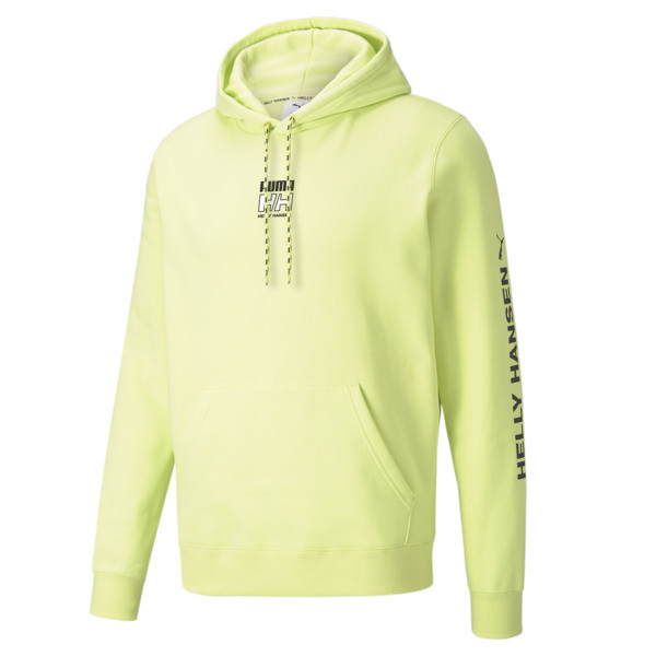 puma x helly hansen men's hoodie in sunny lime, size s