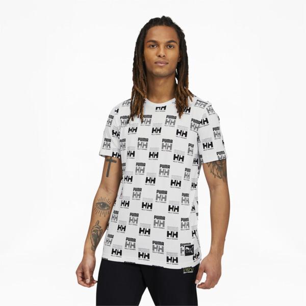 puma x helly hansen men's aop t-shirt in white, size s