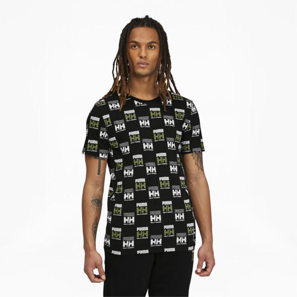 puma x helly hansen men's aop t-shirt in black, size s