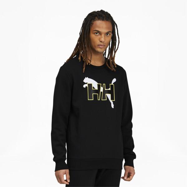 puma x helly hansen men's crewneck sweatshirt in black, size s