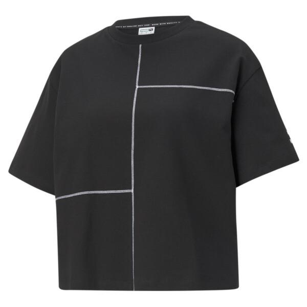 Puma Kontrast Women's T-Shirt In Cotton Black, Size Xs