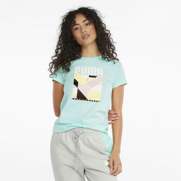 Puma International Graphic Women's T-Shirt In Beach Glass, Size M