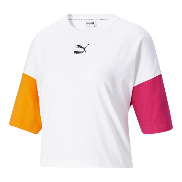 Puma Clsx Women's Boyfriend T-Shirt In White/City Lights, Size Xs