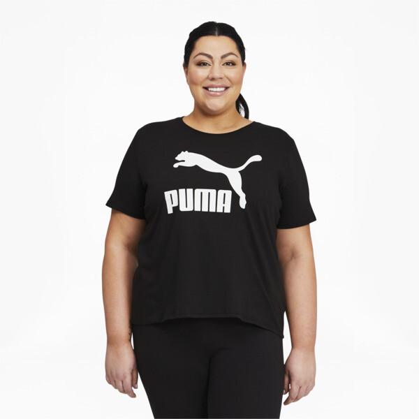 Puma Classics Women's Logo T-Shirt Pl In Black, Size 2X