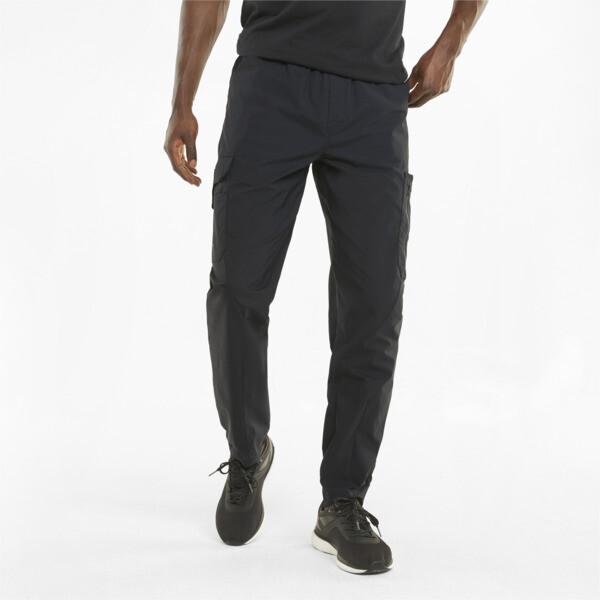 puma porsche design men's cargo pants in jet black, size m