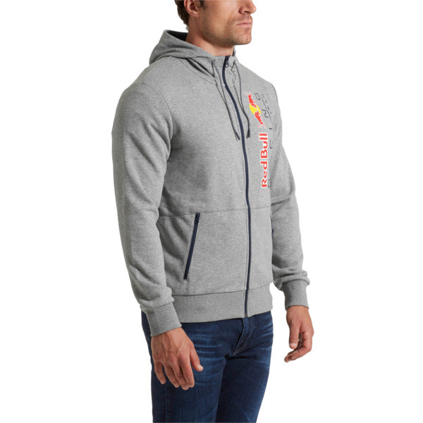 Red Bull Racing Lifestyle Men's Hooded Sweat Jacket, Medium Gray Heather, large