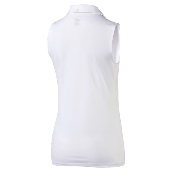Golf Damen Pounce Ärmelloses Polo, Bright White, large