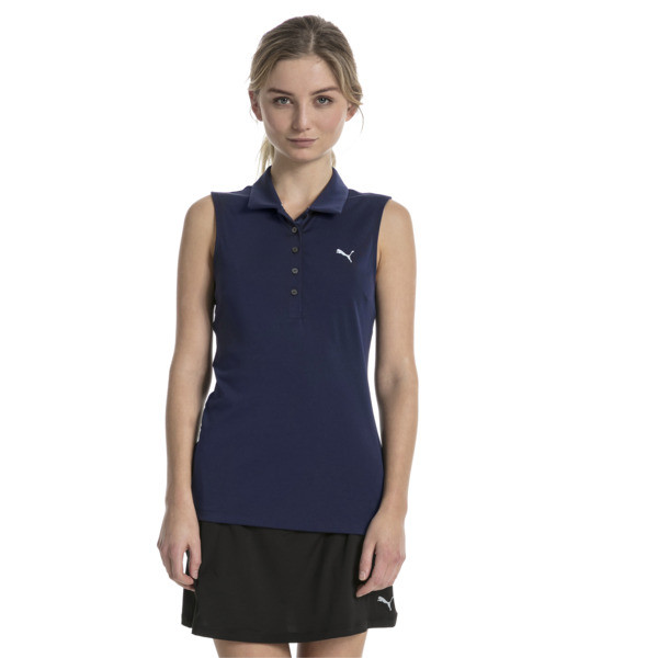Golf Damen Pounce Ärmelloses Polo, Peacoat, large
