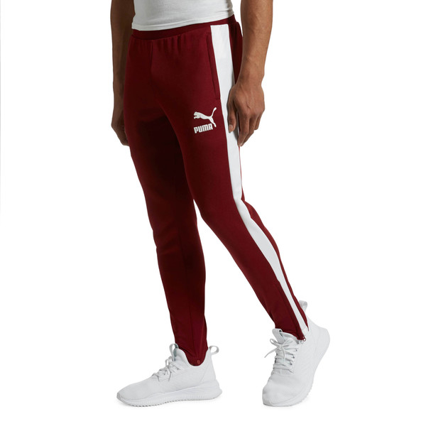 T7 Vintage Men's Track Pants, Pomegranate-Puma White, large