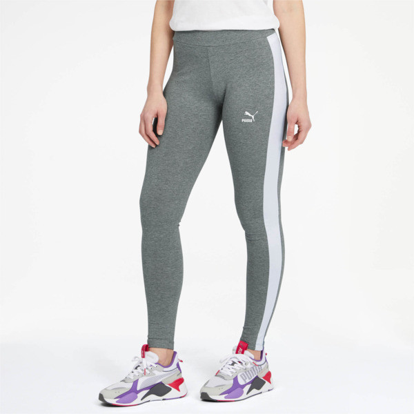 Don\\'t sweat it. These classic T7 leggings offer a flattering shape and lightweight cotton material for optimal comfort and style through your workout. FEATURES + BENEFITS | PUMA Classics Logo T7 Women\\'s Leggings in Medium Grey Heather, Size S