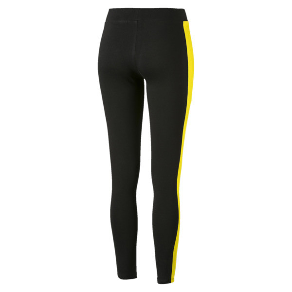 Classics Logo T7 Women's Leggings, Cotton Black-blazing yellow, large