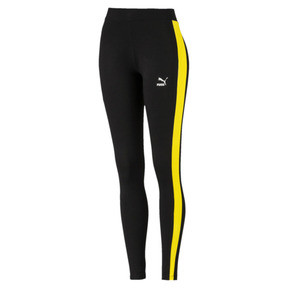 Thumbnail 1 of Classics Logo T7 Women's Leggings, Cotton Black-blazing yellow, medium