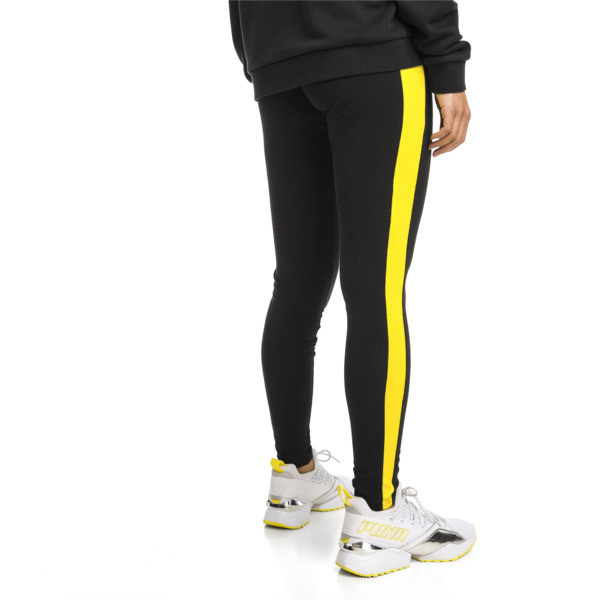 Legging PUMA Classics Logo T7 , Cotton Black-blazing yellow, large