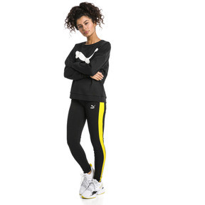 Thumbnail 5 of Classics Logo T7 Women's Leggings, Cotton Black-blazing yellow, medium